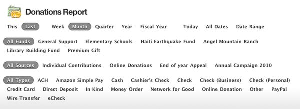 Donations Report Header