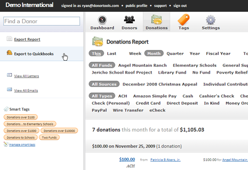Export data from Donor Tools to QuickBooks