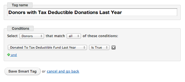 Smart Tag Deductible Donations Last Year